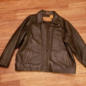 Men's Brown Timberland Lambskin Leather Jacket XL